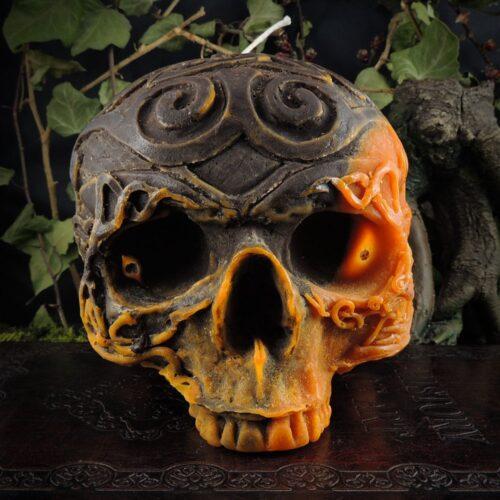 orange-and-brown-celtic-viking-skull-candle